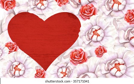 Watercolor delicate floral background with heart