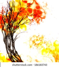 watercolor and digital tree