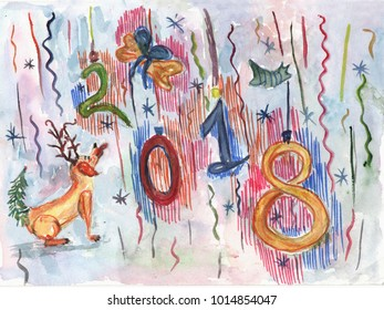 Watercolor dog for christmas or new year 2018 greeting card. Hand drawn illustration with cartoon dog