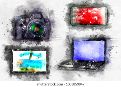Watercolor drawing Computer devices   Mobile phone, laptop, camera, tablet. A bright splash of colors, isolated on white.