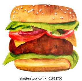 A watercolor drawing of a hamburger with sesame bun, lettuce, red onion, tomato, cheese, and a large patty, hand painted on white background