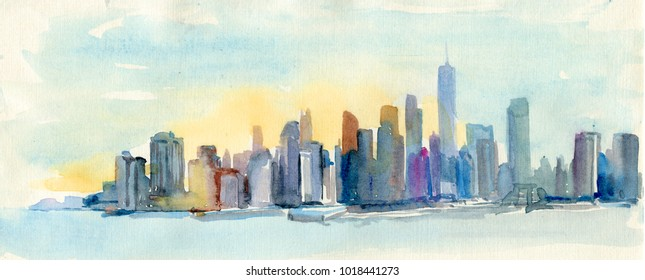 Watercolor drawing of New York cityscape, USA. Manhattan aquarelle painting. Sun rise. New York city towers.
