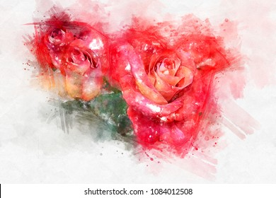 Watercolor drawing of a red rose. A bright splash of flowers isolated on white.