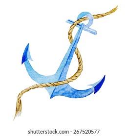 watercolor, drawing, sea anchor