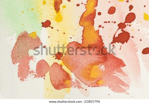 Watercolor drops and brash strokes