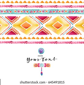 Watercolor ethnic card. Boho chic, ethnic, pattern, wallpaper. Logo elements