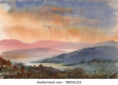 Watercolor: Etude from the pink mountains