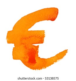 Watercolor euro sign over the white background