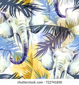 Watercolor exotic seamless pattern. Elephants with colorful tropical leaves. African animals background. Wildlife art illustration. Can be printed on T-shirts, bags, posters, invitations, cards.