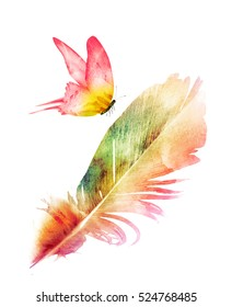 Watercolor feather with butterfly on white as symbol of lightness