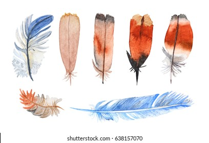 Watercolor feathers collection. Hand painted realistic illustration on paper. Vintage design bird feathers isolated on white background.