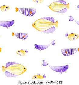 Watercolor fish pattern. Ultra violet and gold colors. For children design, print or background.