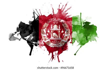 watercolor flag of Afghanistan