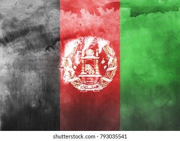 Watercolor flag background. Afghanistan