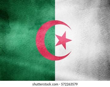 Watercolor flag background. Algeria