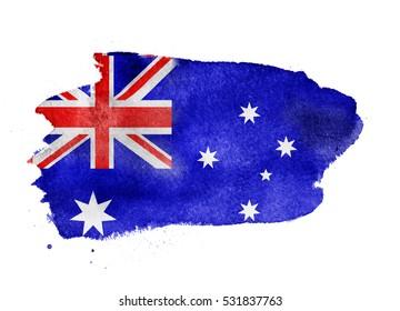 Watercolor flag background. Australia