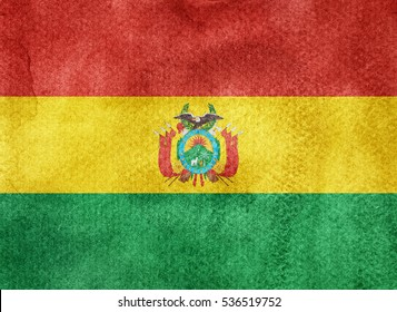 Watercolor flag background. Bolivia