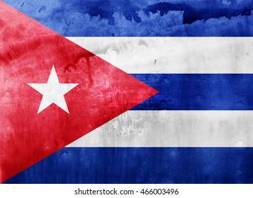 Watercolor flag background. Cuba