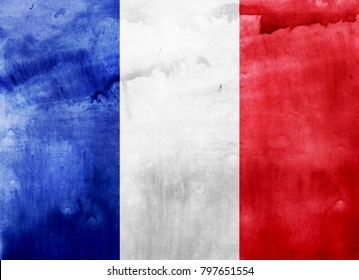 Watercolor flag background. France