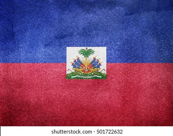 Watercolor flag background. Haiti