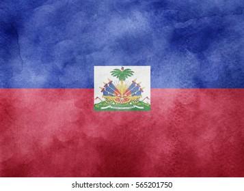 Watercolor flag background. Haiti