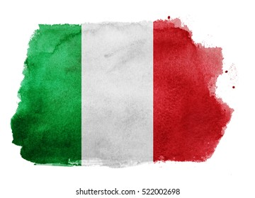 Watercolor flag background. Italy