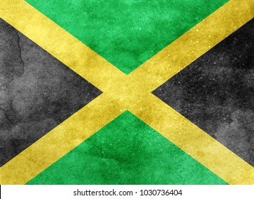 Watercolor flag background. Jamaica