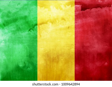 Watercolor flag background. Mali