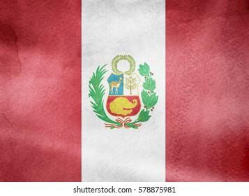 Watercolor flag background. Peru