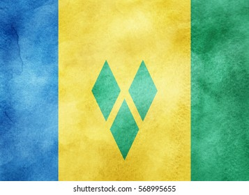 Watercolor flag background. Saint Vincent and the Grenadines