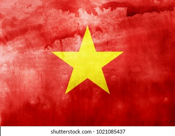 Watercolor flag background. Vietnam