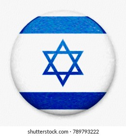 Watercolor flag of Israel in the form of a round button with a light glare and a shadow. The symbol of Independence Day, a souvenir, a button for switching the language on the site, an icon.
