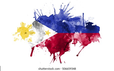 Watercolor Flag Of Philippines