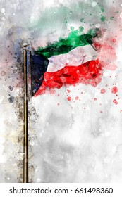 Watercolor Flag Of The State Of Kuwait