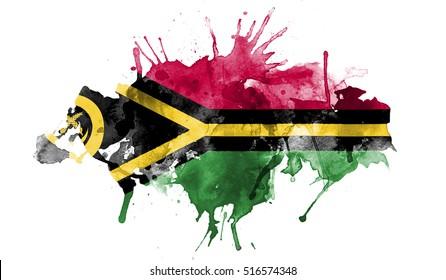 watercolor flag of Vanuatu