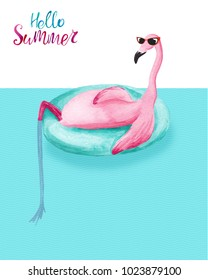 Watercolor flamingo relaxing on inflatable float ring. Hello Summer card
