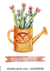 Watercolor floral illustration. Hand drawn yellow watering can with  green cactus  inside. Isolated on white background clip art. Perfect for postcards, scrapbooking and stickers.