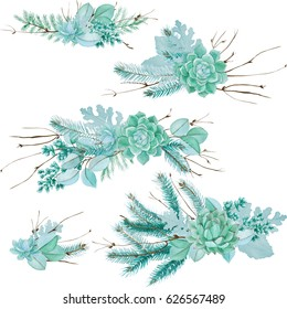 Watercolor Floral Illustration with Succulent. Succulents, twigs and leaves composition for wedding stationery, hand drawn, on white background. Dusty miller, sword fern, spruce branches, eucalyptus.