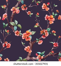 watercolor floral pattern cherry, flowering trees, small flowers on the tree, peach, apricot, dark background