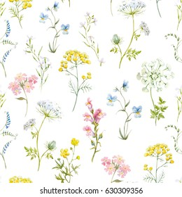 Watercolor floral pattern, delicate flower wallpaper, wildflowers pink,tansy, pansies. white flowers queen anne's lace. retro