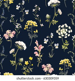 Watercolor floral pattern, delicate flower wallpaper, wildflowers pink,tansy, pansies. white flowers queen anne's lace. Retro wallpaper on a dark background