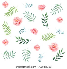 Watercolor floral pattern. Ideal for printing onto fabric and paper. Hand drawing. Raster illustration.