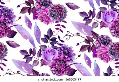 Watercolor floral pattern. Purple flowers background