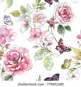 Watercolor floral pattern. Seamless pattern with purple and pink bouquet on white background. Meadow flowers, roses, peonies and butterflies