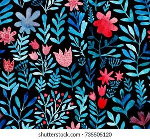 Watercolor floral seamless pattern. Handdrawn botanical backdrop