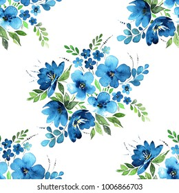 Watercolor floral seamless pattern. Lovely bouquets of blue flowers, leaves, herbs and fruits and buds isolated on white background. Painted with love.