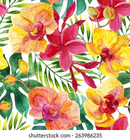 Watercolor floral seamless pattern with orchid and plumeria flowers