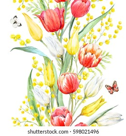 Watercolor floral spring pattern tulip flowers. branch of mimosa. Flying butterflies. Dark background.