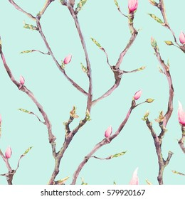 Watercolor Floral Spring Seamless Pattern, Vintage Blooming Tree Branches, Twigs, Flowers and Leaves, botanical watercolor illustration on blue background.