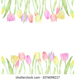 Watercolor floral template. Card with tulips. Flowers border